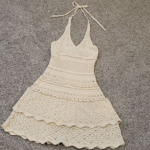 Crocheted halter dress